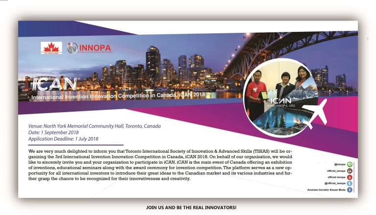 International Invention and Innovation Competition in Canada (iCAN) 2018